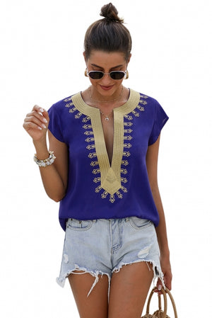 Blue Short Sleeve Printed Neck Shift Blouse