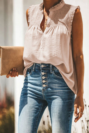 Apricot Frilled Tank Top with Buttons