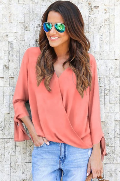 Peach Pink V Neck Ruched Tie Sleeve Top