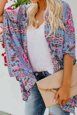 Sky Blue Floral Kimono Cardigan Open Front Cover Up