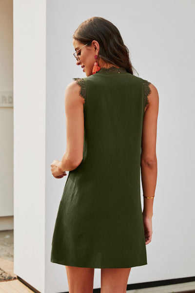 Green Eyelash V Neck Sleeveless Shift Mini Dress
