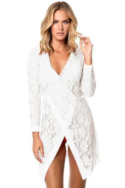White Tie up Long Sleeves Lace Bathing Suit Beachwear