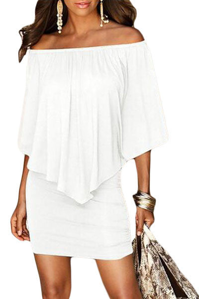 Multiple Dressing Layered White Mini Dress