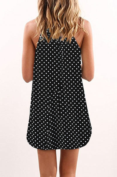 Dot Print Black Sleeveless Dress