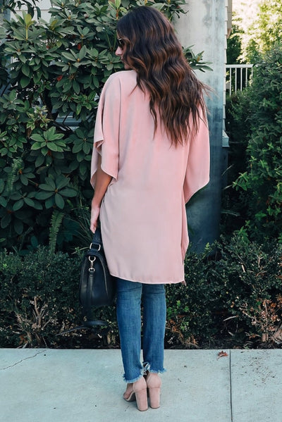 Pink Chic High Low Kimono Top