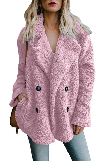 Pink Fleece Open Front Coat with Pockets