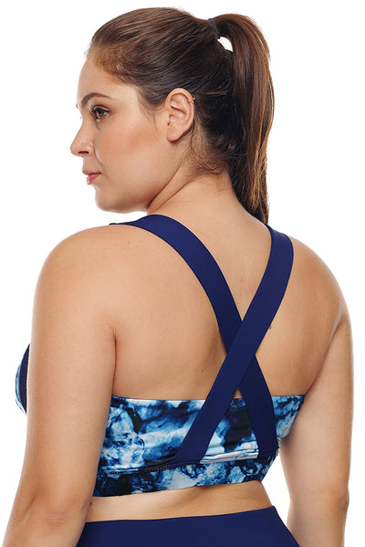 Blue Abstract Painting U-shaped Neck Plus Size Sport Bra
