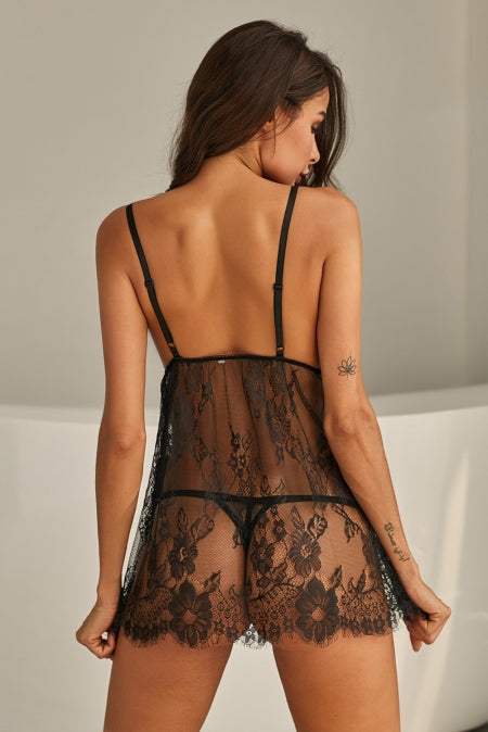 Elegant Eyelash Lace Babydoll Set