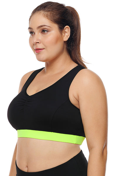 Black High Support Racerback Sports Bra for Women