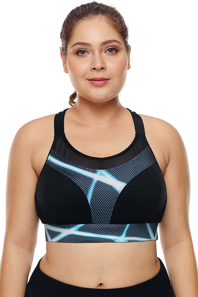 Black Mesh and Print Patchwork Yoga Bra