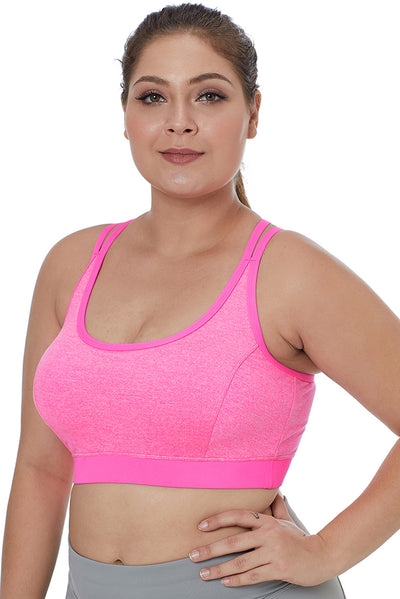 Rosy Double Straps Heathered Sports Bra