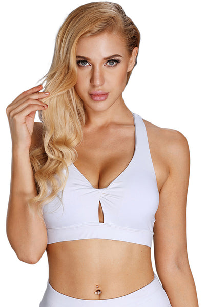 White Pleated Detail V Neck Sport Bra with Keyhole
