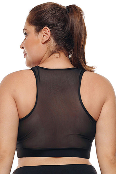 Black Sheer Mesh Back Plus Size Sports Bra