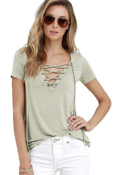 Khaki Lace-up V Neck T-shirt