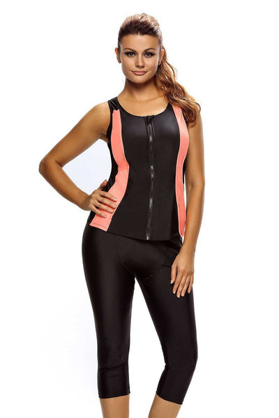 Contrast Orange Accent Black Zipped Women Wetsuit