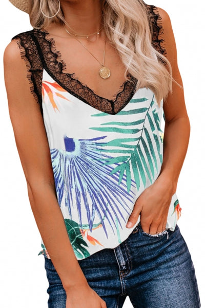 Green Tropical Love Lace Cami Tank