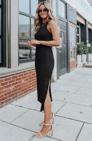Black Side Slit Sleeveless Midi Dress