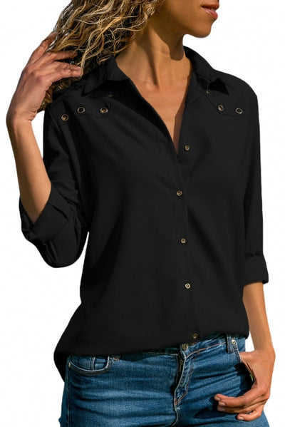 Black Stylish Button Detail Long Sleeve Blouse