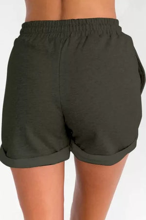 Green Tie Waist Side Pockets Cuffed Lounge Shorts