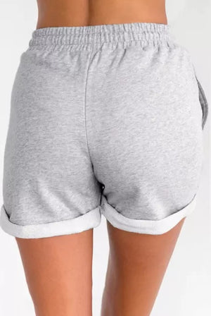 Grey Tie Waist Side Pockets Cuffed Lounge Shorts