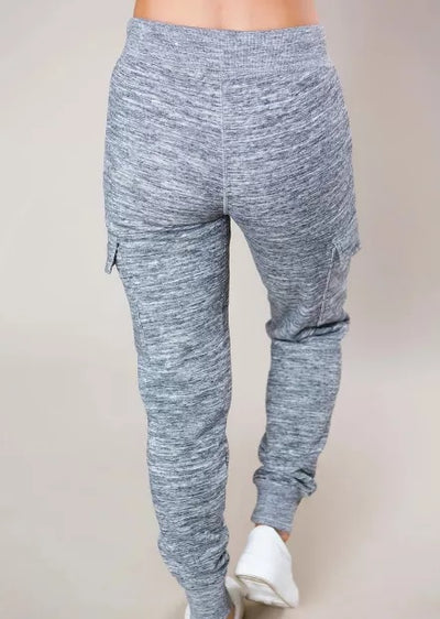 Heathered Gray Pocketed Casual Joggers