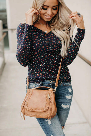 Navy Button V Neck Long Sleeve Floral Top