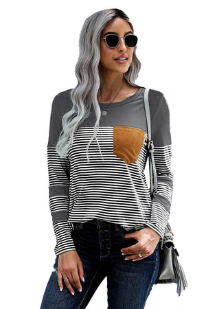 Grey Pinstripe Patch Pocket Top