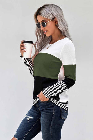 Green Stylish Colorblock Splicing Stripes Top
