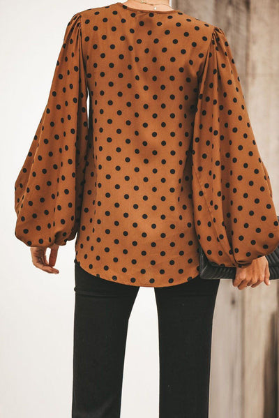 Brown Dot Boo Balloon Sleeve Blouse