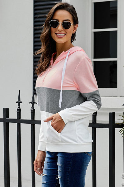 Pink Color Block Zipped Neck Hoodie
