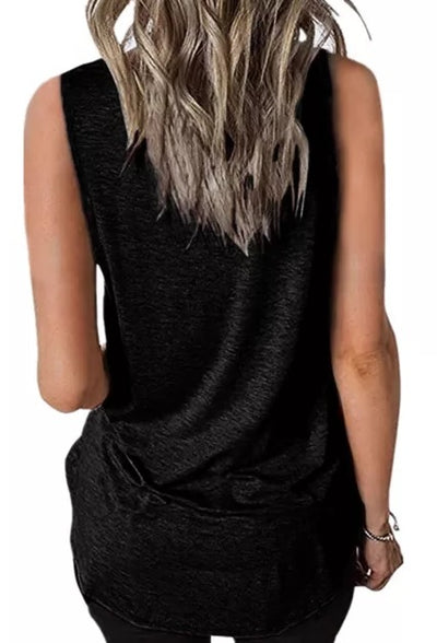 Black Crisscross V Neck Tank Top