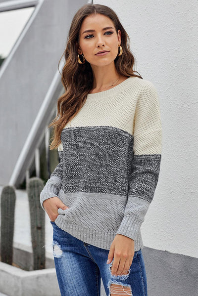 Grey Color Block Netted Texture Pullover Sweater
