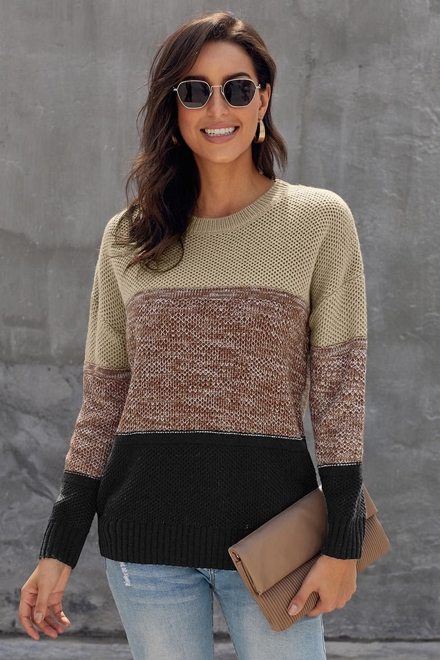 Khaki Color Block Netted Texture Pullover Sweater
