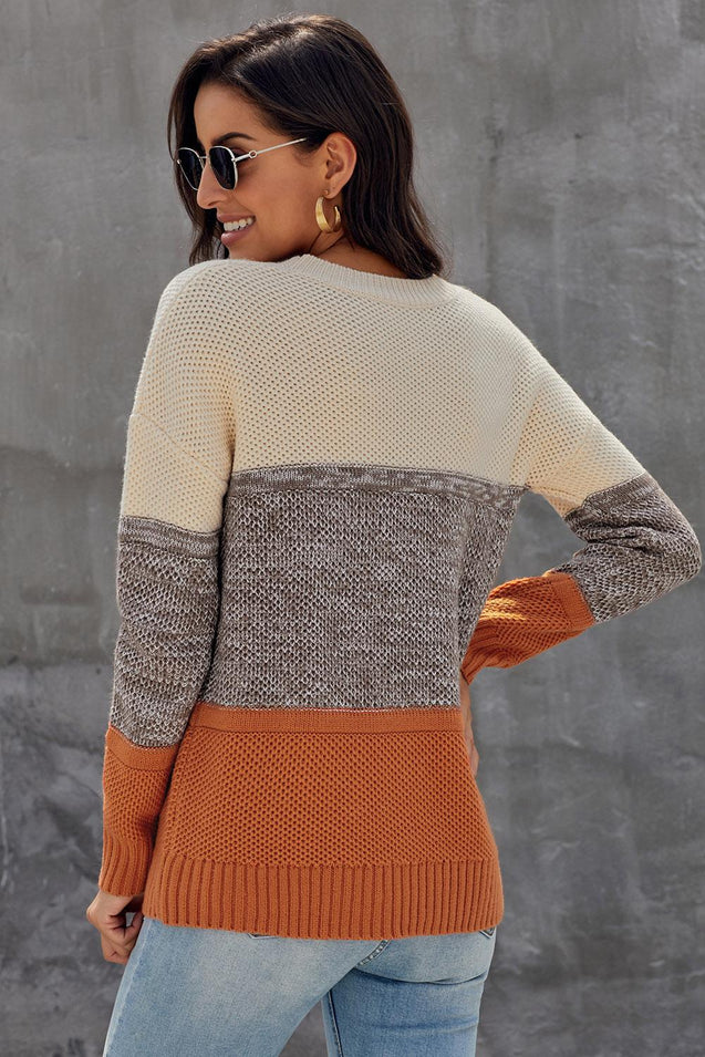 Yellow Color Block Netted Texture Pullover Sweater