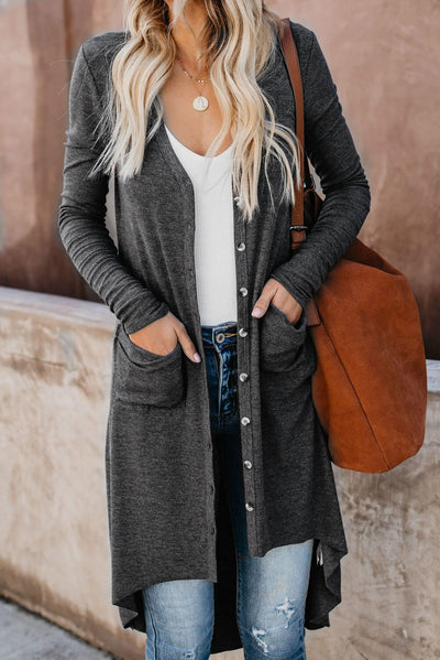Grey Selected Button Down Pocketed High Low Cardigan