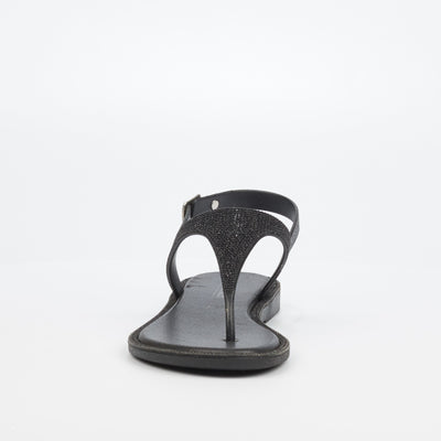 Via Beach Menorca Flat Sandal - Black