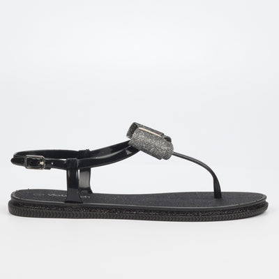 Via Beach Michaela Flat Sandal - Black
