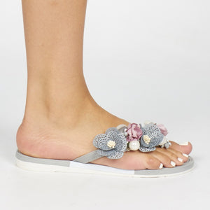 Via Beach Pamela 2 Floral Detail Flip Flop - Grey