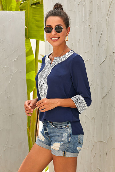 Blue Summer Boho Embroidered V Neck Loose Blouse