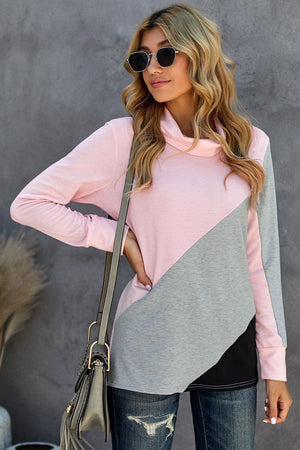Pink Turtle Neck Sloping Color Block Long Sleeve Top