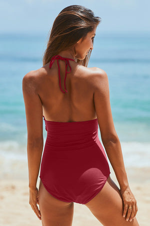 Red High Neck Ruched Monokin Swimwear with Self Tie Strap