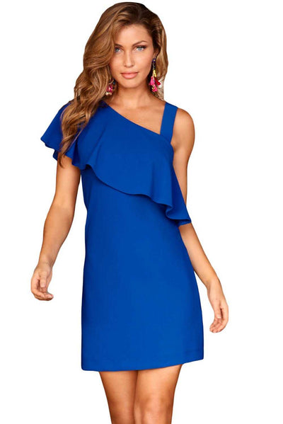 Royal Blue One Shoulder Ruffle Elegant Mini Dress