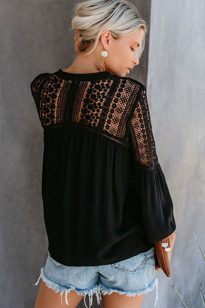 Black The Du Jour Crochet Blouse