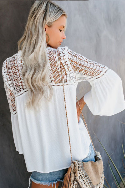 White The Du Jour Crochet Blouse