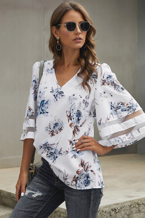 White 3/4 Flared Sleeve Floral Blouse