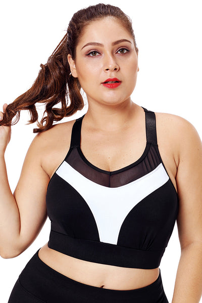 White Accent Mesh Strap Yoga Bra for Women