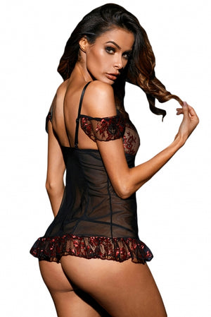 Red Floral Lace Mesh Chemise with G-string