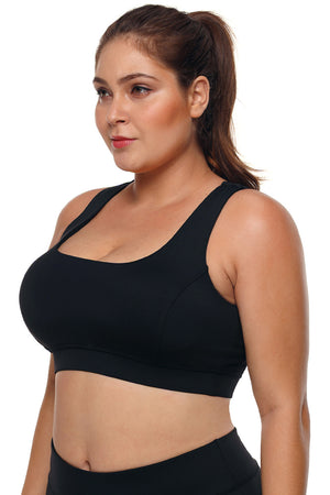 27d569be08 ... Black Plus Size Racerback U-shaped Neck Sport Bra ...