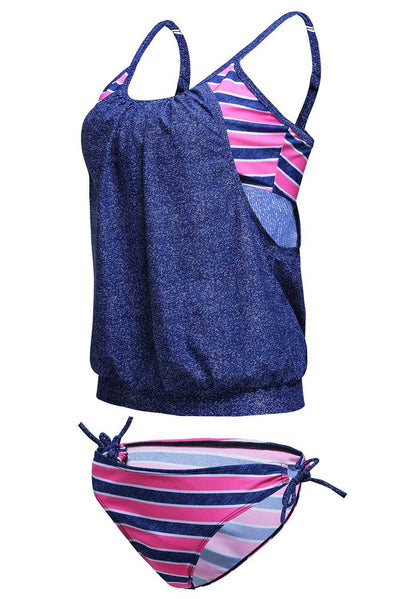 Jeans Blue Layered-Style Striped Tankini with Triangular Briefs