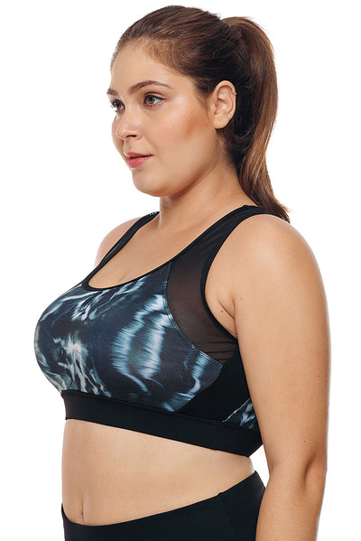 Mesh Insert and Cutout Stylish Printed Sports Bra